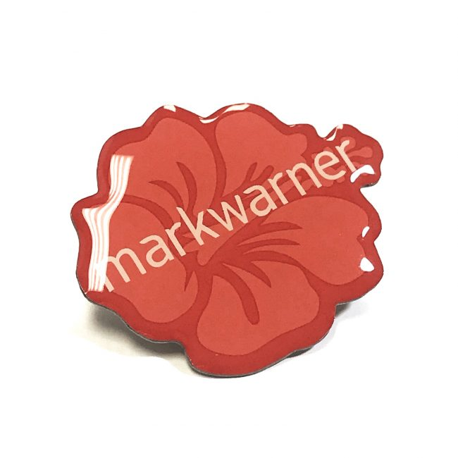 Cut to shape red printed badge