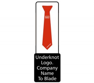 Tie with knot and logo name graphic
