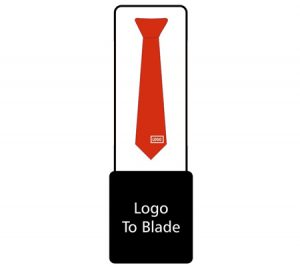 Tie with logo on blade graphic