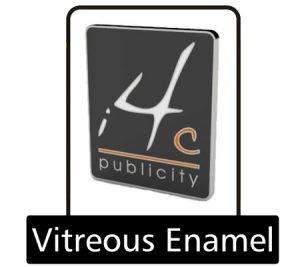 Vitreous enamel pin