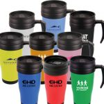 Promotional mugs, group of mugs with logo on