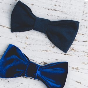 Navy and black bow ties