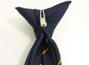 Stripe tie with plastic clip on fitting