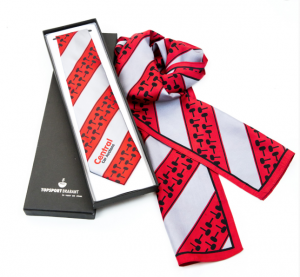 Red striped tie and matching scarf with gift box