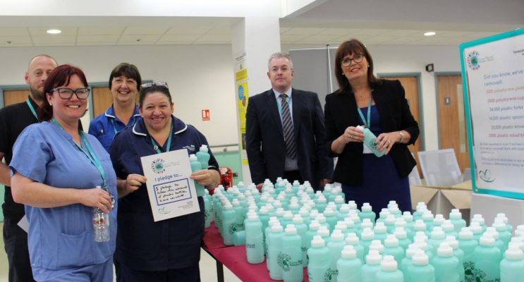 Tameside hospital staff with reusable water bottles
